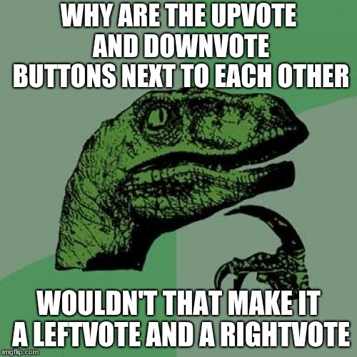 Philosoraptor Meme | WHY ARE THE UPVOTE AND DOWNVOTE BUTTONS NEXT TO EACH OTHER WOULDN'T THAT MAKE IT A LEFTVOTE AND A RIGHTVOTE | image tagged in memes,philosoraptor | made w/ Imgflip meme maker
