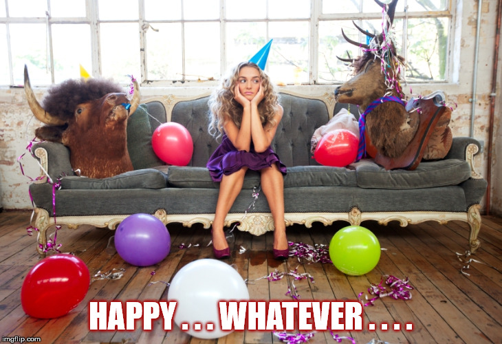HOLIDAY P.C. | HAPPY . . . WHATEVER . . . . | image tagged in christmas,holidays,political correctness,reindeer,woman,party | made w/ Imgflip meme maker