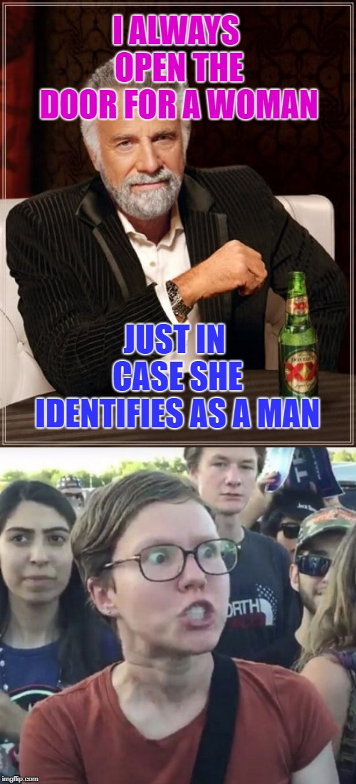 Roll Safe, Think About It... | I ALWAYS OPEN THE DOOR FOR A WOMAN JUST IN CASE SHE IDENTIFIES AS A MAN | image tagged in memes,the most interesting man in the world,triggered feminist,manners,women,men and women | made w/ Imgflip meme maker