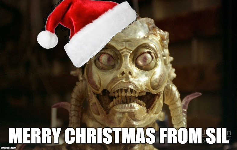 Sil Wishes you a Merry Christmas | MERRY CHRISTMAS FROM SIL | image tagged in merry,christmas,sil,species,horror,sci-fi | made w/ Imgflip meme maker