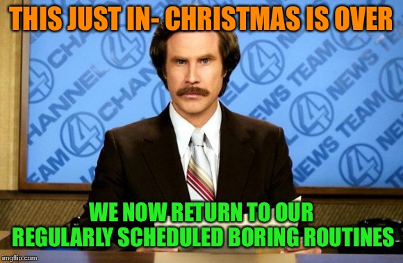 Back to the daily grind |  THIS JUST IN- CHRISTMAS IS OVER; WE NOW RETURN TO OUR REGULARLY SCHEDULED BORING ROUTINES | image tagged in this just in,christmas,gone,memes | made w/ Imgflip meme maker