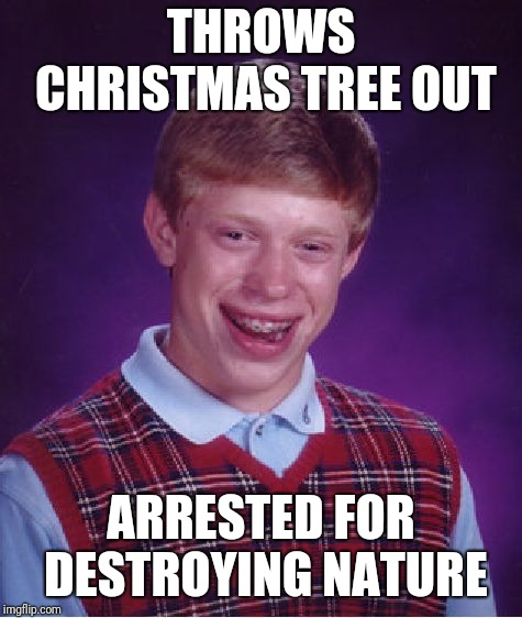 Well Christmas is gone.. and we have to wait another year for it again | THROWS CHRISTMAS TREE OUT ARRESTED FOR DESTROYING NATURE | image tagged in memes,bad luck brian,christmas | made w/ Imgflip meme maker