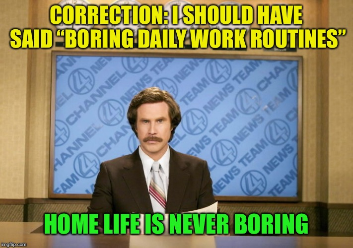 "This just in | CORRECTION: I SHOULD HAVE SAID ""BORING DAILY WORK ROUTINES"" HOME LIFE IS NEVER BORING 