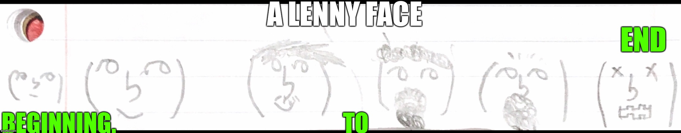 Life Of a lenny face ( ͡° ͜ʖ ͡°) | A LENNY FACE BEGINNING.                                                  TO END | image tagged in lenny face,life | made w/ Imgflip meme maker