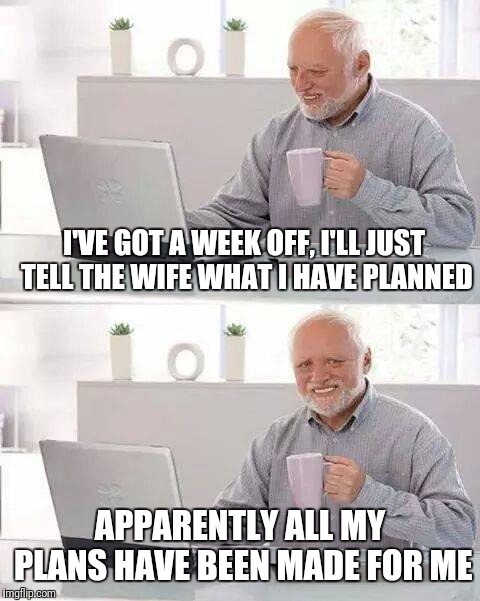 Is a week to lounge, go fishing, and golf too much to ask for? #honeydolist, lol | I'VE GOT A WEEK OFF, I'LL JUST TELL THE WIFE WHAT I HAVE PLANNED APPARENTLY ALL MY PLANS HAVE BEEN MADE FOR ME | image tagged in memes,hide the pain harold,vacation,honey do list | made w/ Imgflip meme maker