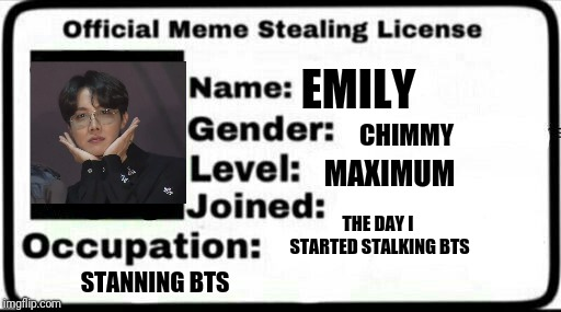 Meme Stealing License | EMILY THE DAY I STARTED STALKING BTS CHIMMY STANNING BTS MAXIMUM | image tagged in meme stealing license | made w/ Imgflip meme maker