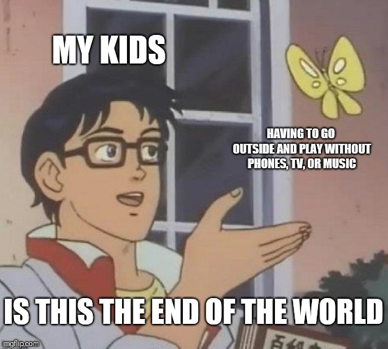 They just walked around in circles like patients at an asylum | MY KIDS HAVING TO GO OUTSIDE AND PLAY WITHOUT PHONES, TV, OR MUSIC IS THIS THE END OF THE WORLD | image tagged in memes,is this a pigeon | made w/ Imgflip meme maker
