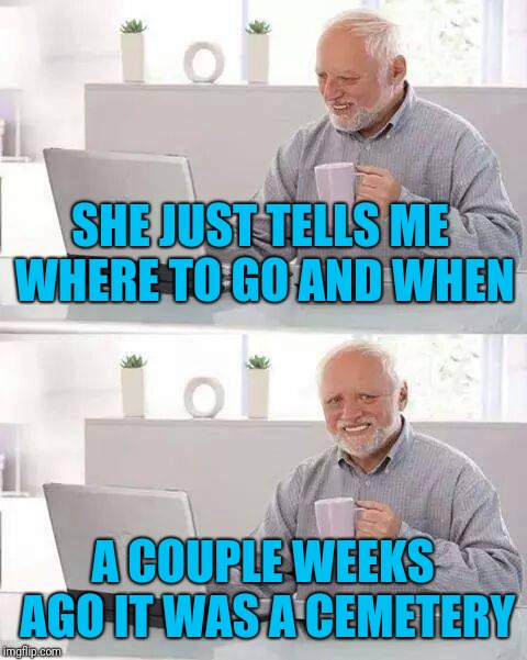 Hide the Pain Harold Meme | SHE JUST TELLS ME WHERE TO GO AND WHEN A COUPLE WEEKS AGO IT WAS A CEMETERY | image tagged in memes,hide the pain harold | made w/ Imgflip meme maker