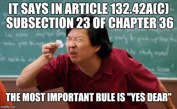 "Tiny piece of paper | IT SAYS IN ARTICLE 132.42A(C) SUBSECTION 23 OF CHAPTER 36 THE MOST IMPORTANT RULE IS ""YES DEAR"" 