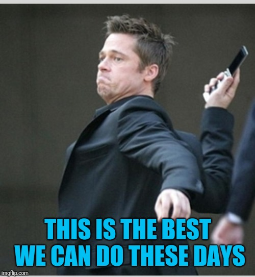 Brad Pitt throwing phone | THIS IS THE BEST WE CAN DO THESE DAYS | image tagged in brad pitt throwing phone | made w/ Imgflip meme maker