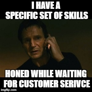 Liam Neeson Taken Meme | I HAVE A SPECIFIC SET OF SKILLS HONED WHILE WAITING FOR CUSTOMER SERIVCE | image tagged in memes,liam neeson taken | made w/ Imgflip meme maker