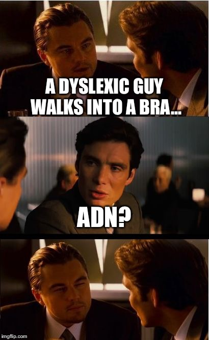 Inception Meme | A DYSLEXIC GUY WALKS INTO A BRA... ADN? | image tagged in memes,inception | made w/ Imgflip meme maker
