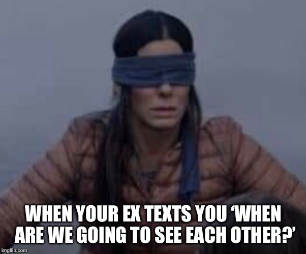 WHEN YOUR EX TEXTS YOU 'WHEN ARE WE GOING TO SEE EACH OTHER?' | image tagged in ex girlfriend,ex boyfriend | made w/ Imgflip meme maker