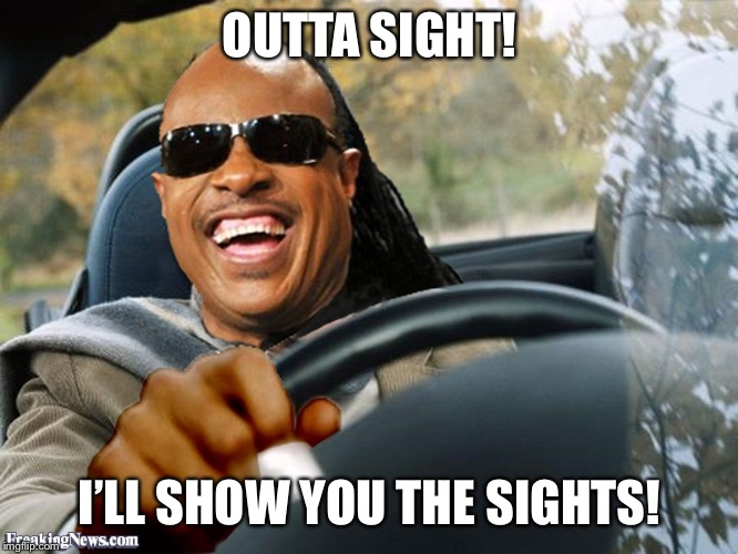 Stevie Wonder Driving | OUTTA SIGHT! I'LL SHOW YOU THE SIGHTS! | image tagged in stevie wonder driving | made w/ Imgflip meme maker