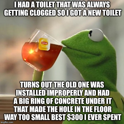But Thats None Of My Business Meme | I HAD A TOILET THAT WAS ALWAYS GETTING CLOGGED SO I GOT A NEW TOILET TURNS OUT THE OLD ONE WAS INSTALLED IMPROPERLY AND HAD A BIG RING OF CO | image tagged in memes,but thats none of my business,kermit the frog | made w/ Imgflip meme maker