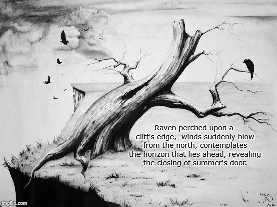 Summer's End | Raven perched upon a cliff's edge, winds suddenly blow from the north,contemplates the horizon that lies ahead,revealing the closing of s | image tagged in raven,art,poetry,autumn,winter,summer | made w/ Imgflip meme maker
