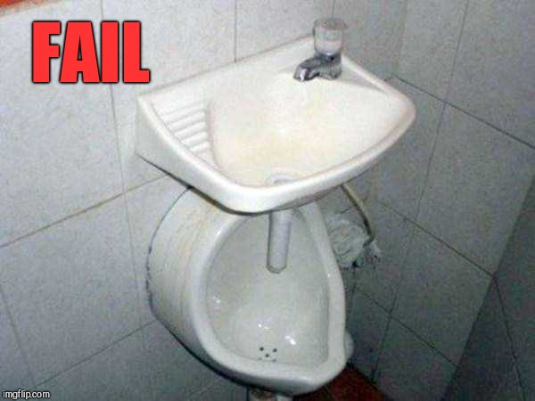 Plumbing job |  FAIL | image tagged in plumbing job,sink,urinal,humor,bad job | made w/ Imgflip meme maker