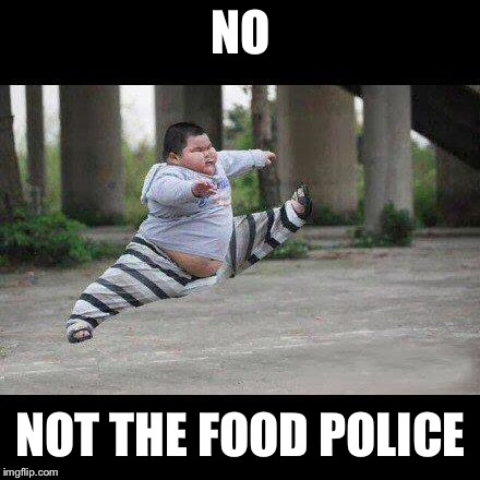 Fat kid jump kick | NO NOT THE FOOD POLICE | image tagged in fat kid jump kick | made w/ Imgflip meme maker