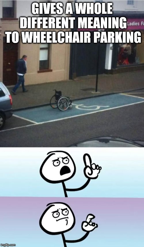 Speechless Stickman | GIVES A WHOLE DIFFERENT MEANING TO WHEELCHAIR PARKING | image tagged in speechless stickman,wheelchair,funny picture,funny signs,wtf,what is this | made w/ Imgflip meme maker