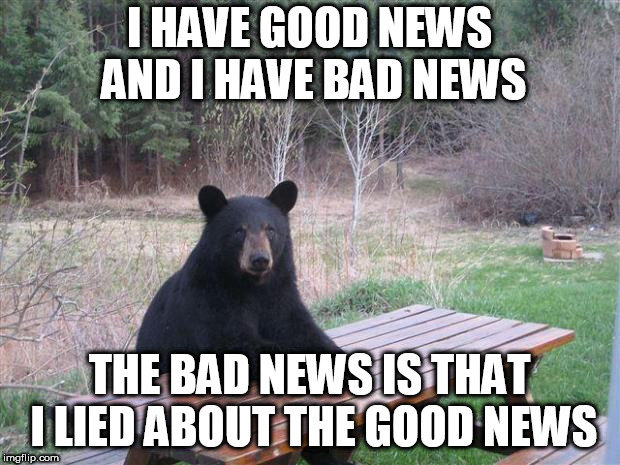 Bear of bad news | I HAVE GOOD NEWS AND I HAVE BAD NEWS THE BAD NEWS IS THAT I LIED ABOUT THE GOOD NEWS | image tagged in bear of bad news | made w/ Imgflip meme maker