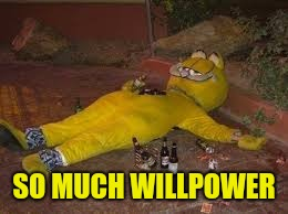 Passed out Garfield | SO MUCH WILLPOWER | image tagged in passed out garfield | made w/ Imgflip meme maker