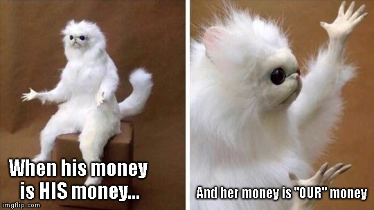 "Wtf Cat | When his money is HIS money... And her money is ""OUR"" money 