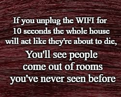 Wifi | If you unplug the WIFI for 10 seconds the whole house will act like they're about to die, You'll see people come out of rooms you've never s | image tagged in wifi,family life,hey internet | made w/ Imgflip meme maker