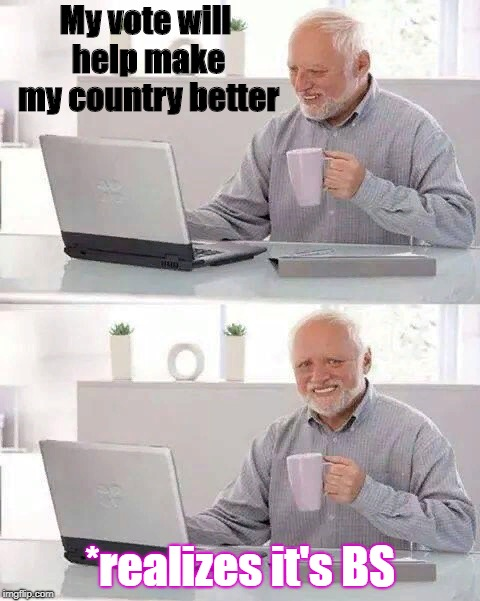 Every single country | My vote will help make my country better *realizes it's BS | image tagged in memes,hide the pain harold | made w/ Imgflip meme maker
