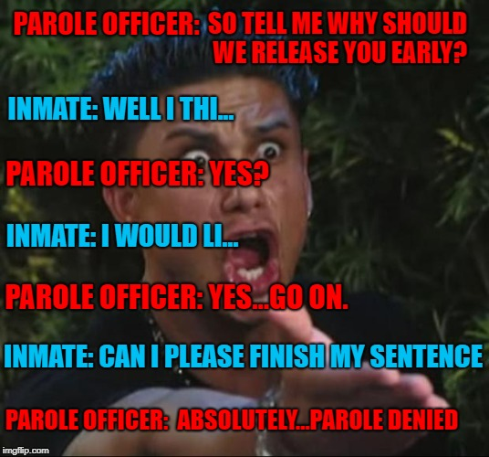 Well played Parole Officer...well played... | PAROLE OFFICER: INMATE: WELL I THI... PAROLE OFFICER: YES? INMATE: I WOULD LI... PAROLE OFFICER: YES...GO ON. INMATE: CAN I PLEASE FINISH MY | image tagged in memes,dj pauly d,parole,funny,railroaded,prison | made w/ Imgflip meme maker