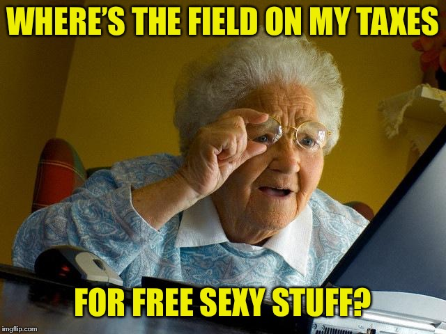 Grandma Finds The Internet Meme | WHERE'S THE FIELD ON MY TAXES FOR FREE SEXY STUFF? | image tagged in memes,grandma finds the internet | made w/ Imgflip meme maker