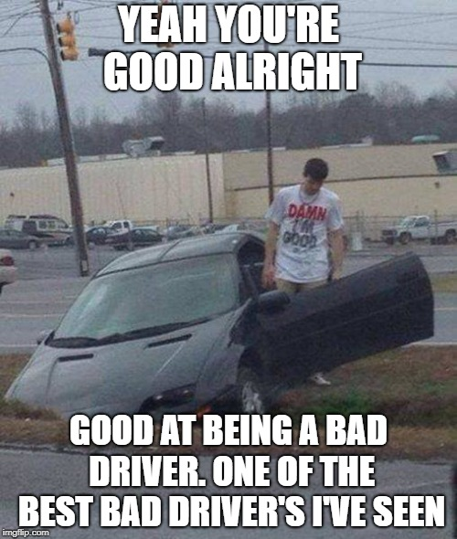 YEAH YOU'RE GOOD ALRIGHT GOOD AT BEING A BAD DRIVER. ONE OF THE BEST BAD DRIVER'S I'VE SEEN | image tagged in damn i'm good | made w/ Imgflip meme maker