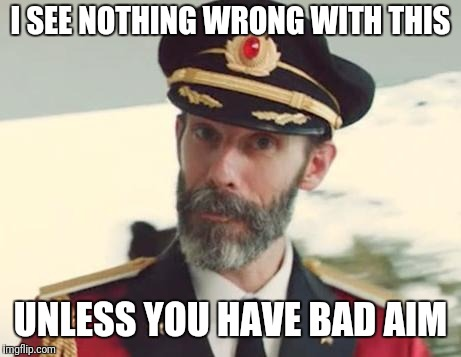 Captain Obvious | I SEE NOTHING WRONG WITH THIS UNLESS YOU HAVE BAD AIM | image tagged in captain obvious | made w/ Imgflip meme maker