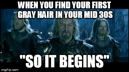 "so it begins | WHEN YOU FIND YOUR FIRST GRAY HAIR IN YOUR MID 30S ""SO IT BEGINS"" 
