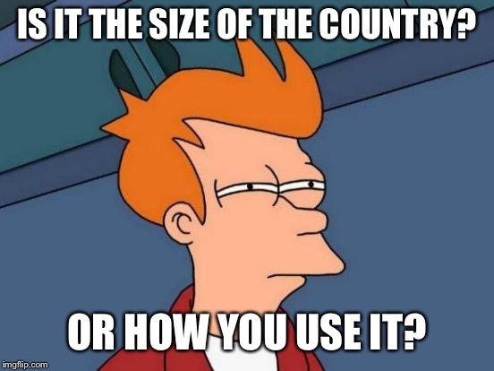 Futurama Fry Meme | IS IT THE SIZE OF THE COUNTRY? OR HOW YOU USE IT? | image tagged in memes,futurama fry | made w/ Imgflip meme maker