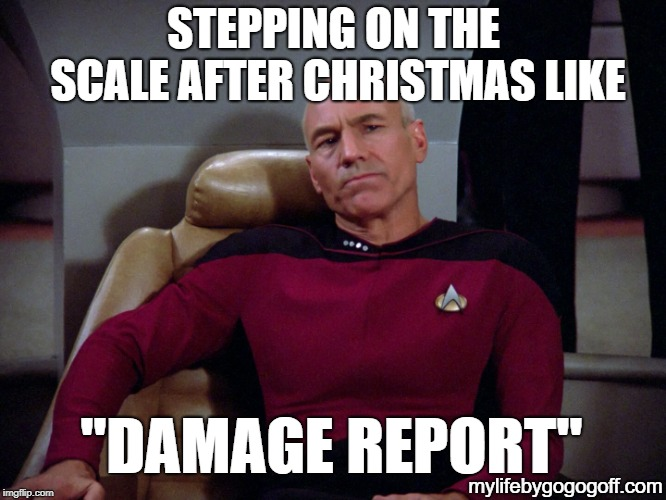 "Captain Picard | STEPPING ON THE SCALE AFTER CHRISTMAS LIKE ""DAMAGE REPORT"" mylifebygogogoff.com 