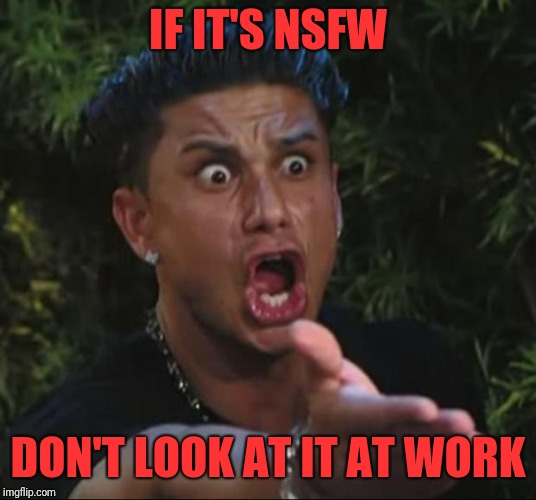 DJ Pauly D Meme | IF IT'S NSFW DON'T LOOK AT IT AT WORK | image tagged in memes,dj pauly d | made w/ Imgflip meme maker