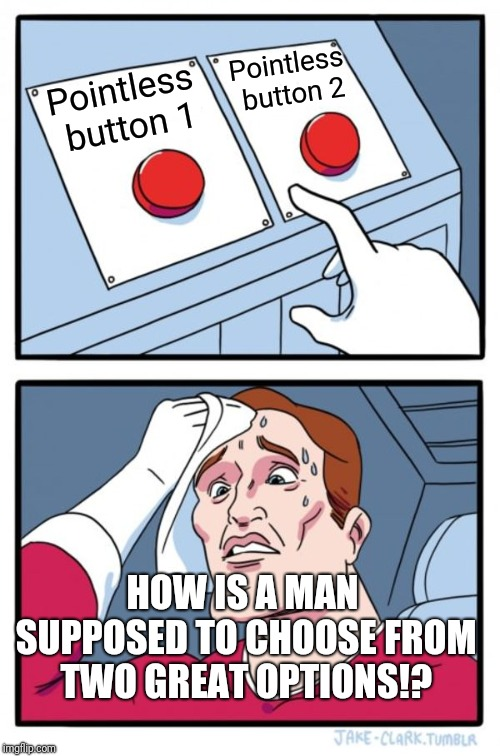 Two Buttons Meme | Pointless button 1 Pointless button 2 HOW IS A MAN SUPPOSED TO CHOOSE FROM TWO GREAT OPTIONS!? | image tagged in memes,two buttons | made w/ Imgflip meme maker