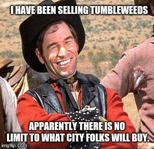 Cowboy Entrepreneur, selling tumbleweeds to city folks | I HAVE BEEN SELLING TUMBLEWEEDS APPARENTLY THERE IS NO LIMIT TO WHAT CITY FOLKS WILL BUY. | image tagged in cowboy,cowboy entrepreneur,tumbleweeds | made w/ Imgflip meme maker