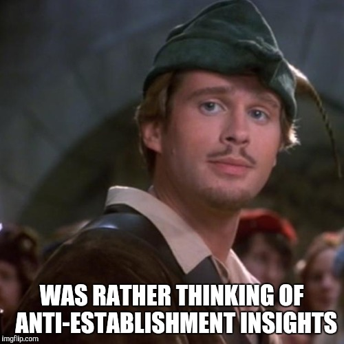 Superior Robin Hood | WAS RATHER THINKING OF  ANTI-ESTABLISHMENT INSIGHTS | image tagged in superior robin hood | made w/ Imgflip meme maker