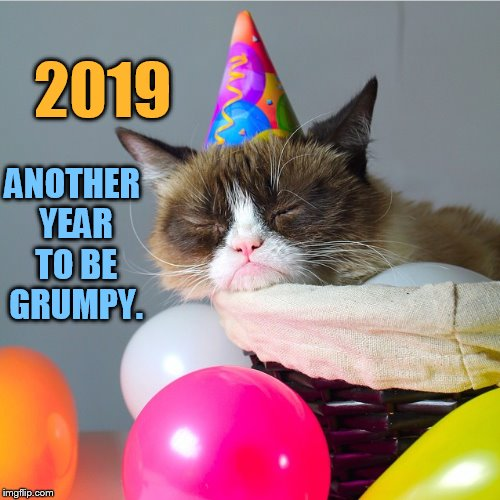 Grumpy Cat...Here We Go Again |  ANOTHER YEAR TO BE GRUMPY. 2019 | image tagged in memes,grumpy cat,2019,another,new year,grumpy | made w/ Imgflip meme maker