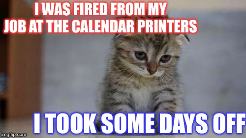 This joke feels a 'little week'. | I WAS FIRED FROM MY JOB AT THE CALENDAR PRINTERS I TOOK SOME DAYS OFF | image tagged in sad kitten,bad employee,calendar,days | made w/ Imgflip meme maker