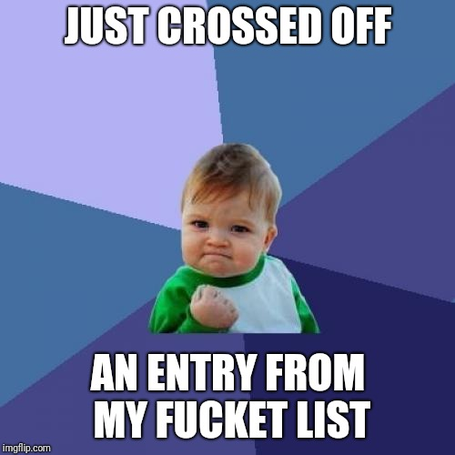 Success Kid Meme | JUST CROSSED OFF AN ENTRY FROM MY F**KET LIST | image tagged in memes,success kid | made w/ Imgflip meme maker