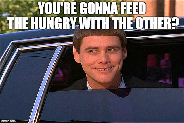 Dumb and dumber limo | YOU'RE GONNA FEED THE HUNGRY WITH THE OTHER? | image tagged in dumb and dumber limo | made w/ Imgflip meme maker