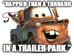 """HAPPIER THAN A TORNADO IN A TRAILER PARK."" 