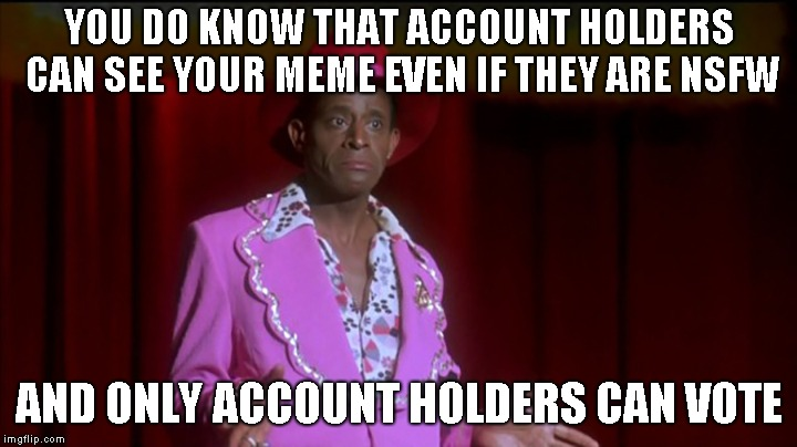 YOU DO KNOW THAT ACCOUNT HOLDERS CAN SEE YOUR MEME EVEN IF THEY ARE NSFW AND ONLY ACCOUNT HOLDERS CAN VOTE | made w/ Imgflip meme maker