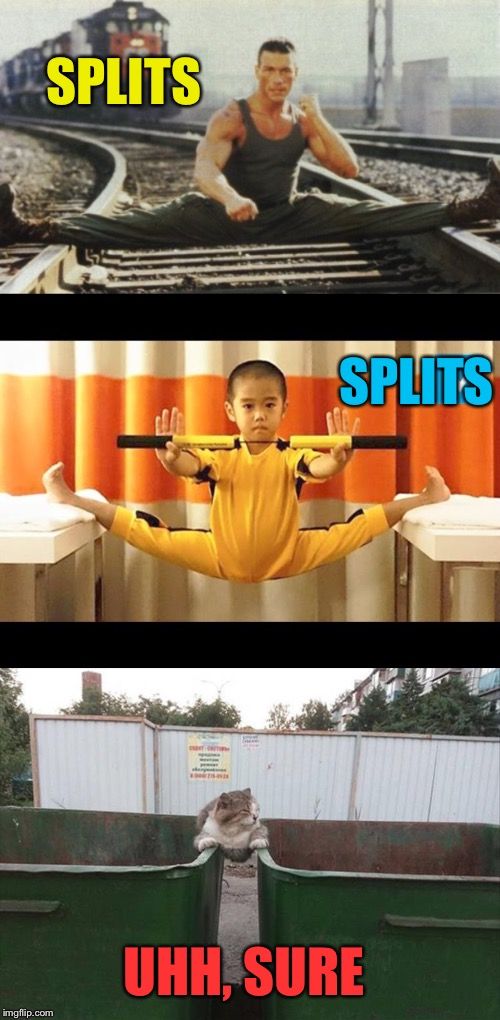 Don't hurt yourself. | SPLITS SPLITS UHH, SURE | image tagged in splits,martial arts,memes,funny | made w/ Imgflip meme maker