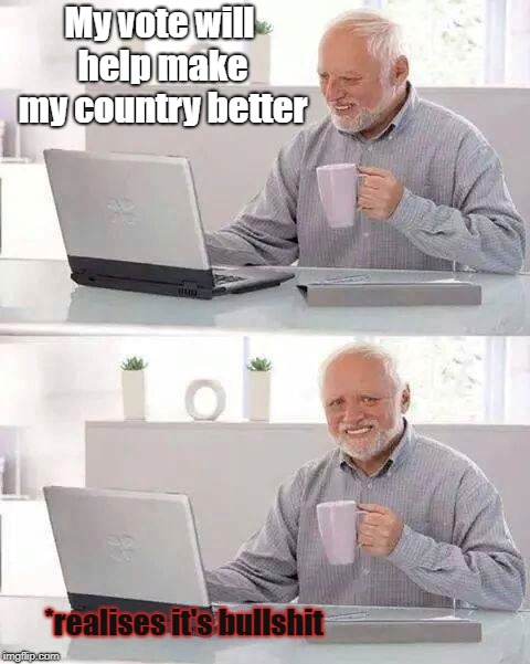 Every single country | My vote will help make my country better *realises it's bullshit | image tagged in memes,hide the pain harold | made w/ Imgflip meme maker
