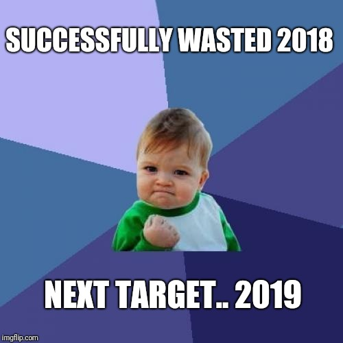 Success Kid Meme | SUCCESSFULLY WASTED 2018 NEXT TARGET.. 2019 | image tagged in memes,success kid | made w/ Imgflip meme maker