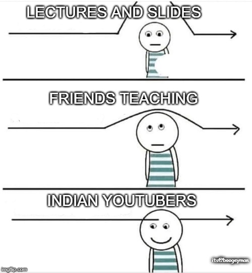 LECTURES AND SLIDES FRIENDS TEACHING INDIAN YOUTUBERS its@boogeyman | image tagged in funny,indian,study | made w/ Imgflip meme maker