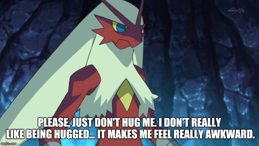 blaziken | PLEASE, JUST DON'T HUG ME. I DON'T REALLY LIKE BEING HUGGED... IT MAKES ME FEEL REALLY AWKWARD. | image tagged in blaziken | made w/ Imgflip meme maker